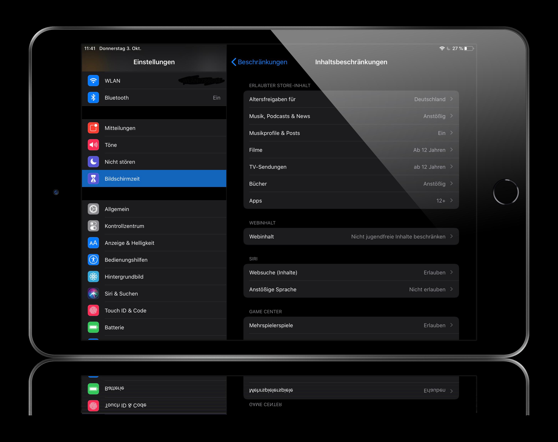 Nach Auswahl der Inhaltsbeschränkungen den Bildschirmzeit Code eingeben und anschließen den Unterpunkt Apps.